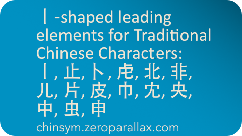 Index of Chinese characters that have the following 丨-shape (shapenameX) based radicals: 丨止卜虍北非儿片皮巾冘央中虫申婁. Includes character definition for each linked character. Neil Keleher, chinsym.zeroparallax.com .
