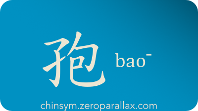 The Chinese character 孢 can be pronounced bao¯ and has these meaning(s): Spore, chinsym.zeroparallax.com