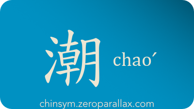 The Chinese character 潮 can be pronounced chaoˊ and has these meaning(s): Tide, current, flow, damp, wet, moist, chinsym.zeroparallax.com