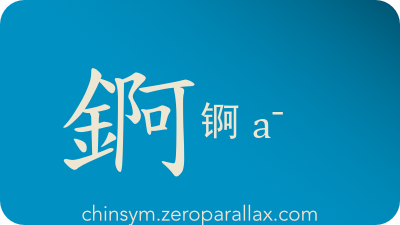 The Chinese character 錒/锕 can be pronounced a¯ and has these meaning(s): Actinium, chinsym.zeroparallax.com