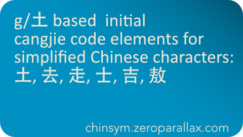 Index of Simplified Chinese characters whose cangjie input codes begins with a 土 (Earth) and that begins with any of these 土 based derivatives: 土, 螫, 馨, 罄, 謦. Includes character definition for each linked character. Neil Keleher, chinsym.zeroparallax.com .
